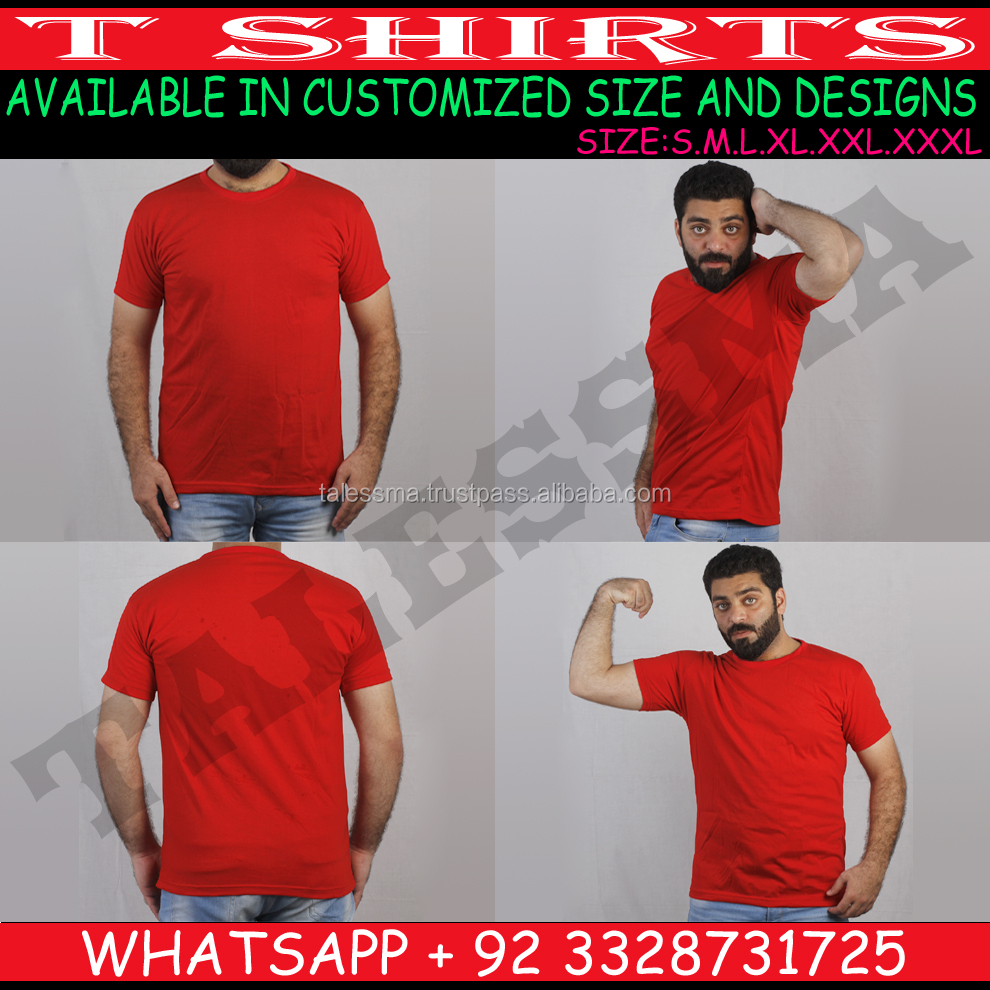 f36545cf235 100% Cotton Round Neck T Shirts Customize For Men Red Color - Buy ...