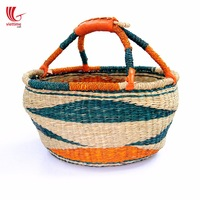 Woven wicker picnic basket/ cheap bolga storage basket with handle