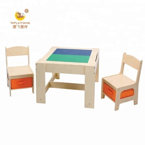 kids wooden lego play table doublesided whiteboard with storage bins table with 2 chairs set