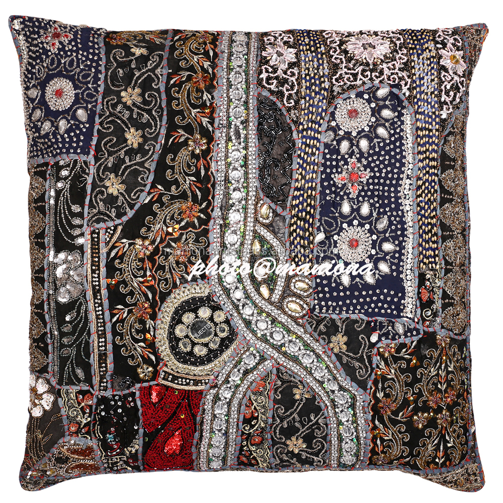 Black Indian Sari Decorative Throw Pillow Cover Beaded Bollywood Moti Work Cushion Cover