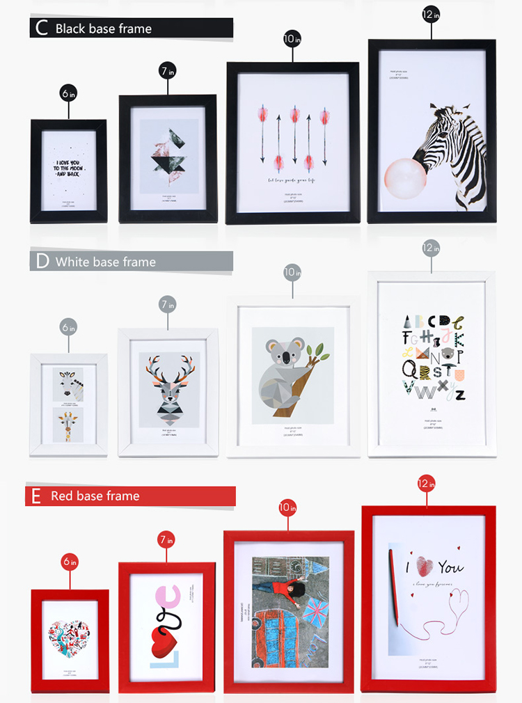 Customized Size 6/7/10/12inch  red white black ornate picture frames  Wall Mounted Hanging Photo Frame for home decoration