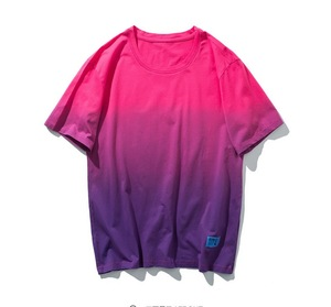 new T-shirt men's European and American hanging dye gradient short-sleeved round neck high street shirt wholesale