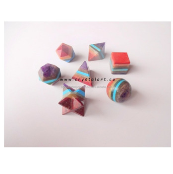 Seven Chakra Bonded Platonic Solid Geometry Sets