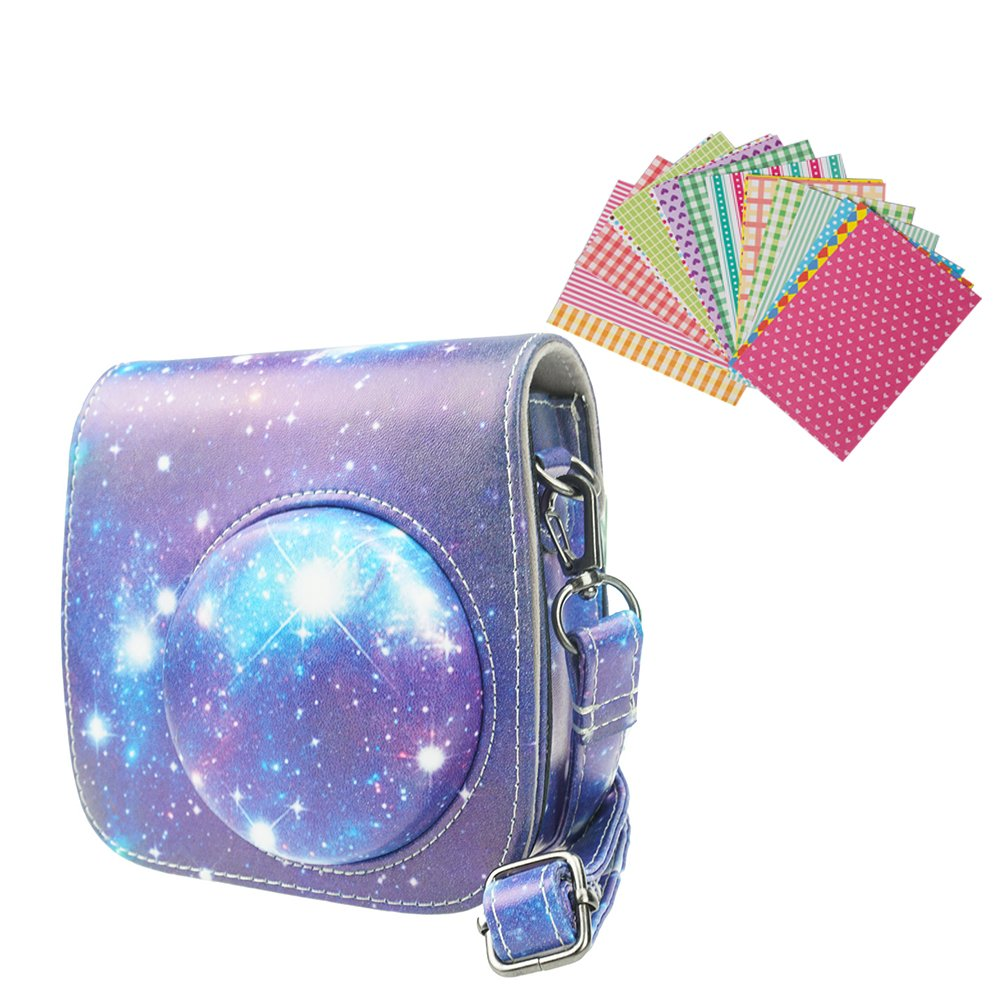 Anntic lovely Instax Mini 8/ 8+/ 9 Case PU Leather for Fujifilm Instax Mini 9 / Mini 8 / Mini 8+ Instant Film Camera with Strap and 20 PCS Stickers (Starry sky)