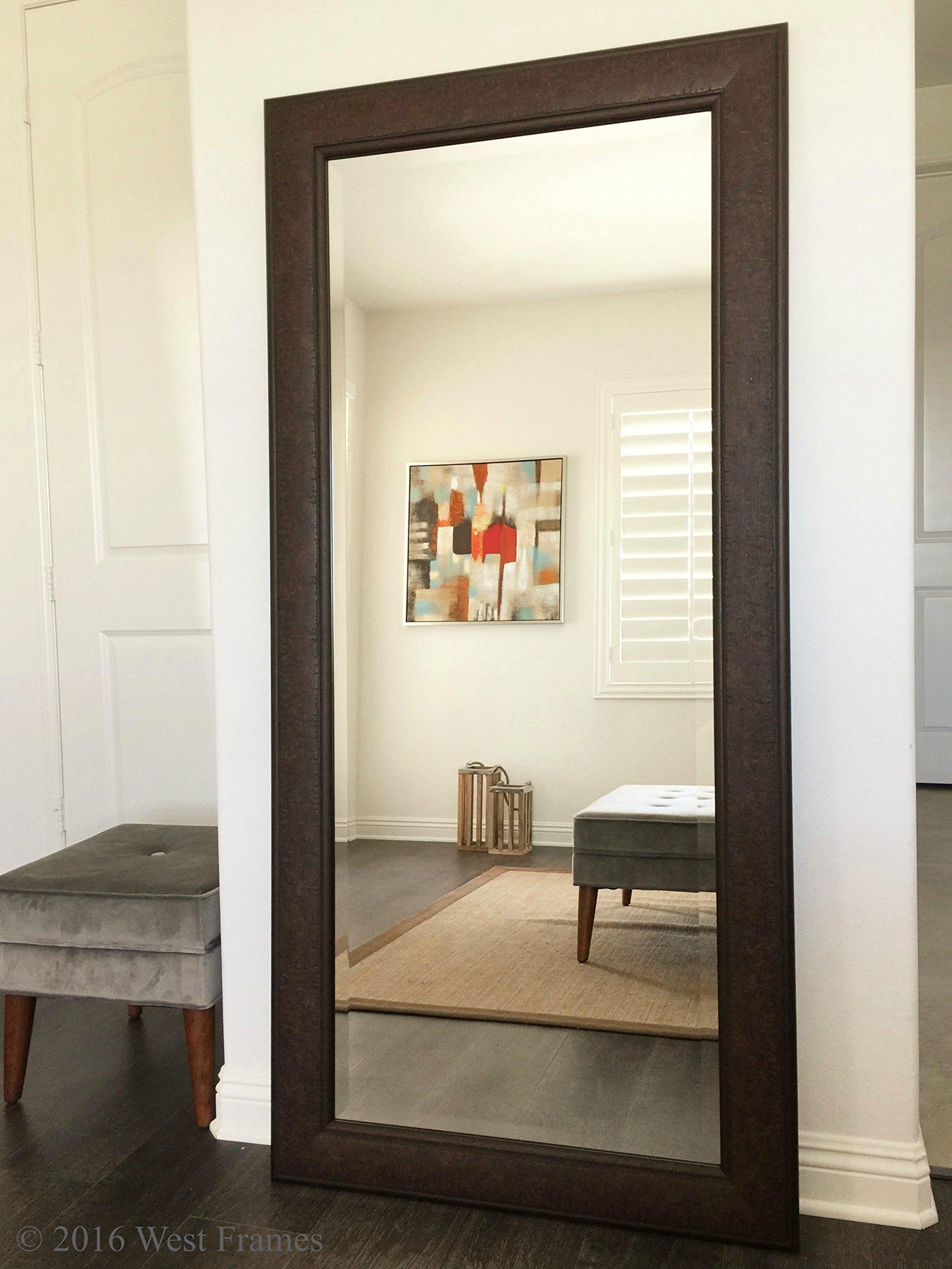 Get Quotations · West Frames Marcello Full Floor Rustic Walnut Brown Mirror