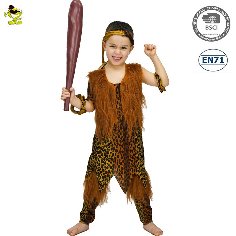 8272d0289562 Boys Ancient Cavemen Costumes with Leopard print Kids Wild Man Role Play Suit  Halloween Party Cool Primitive Cosplay Clothing