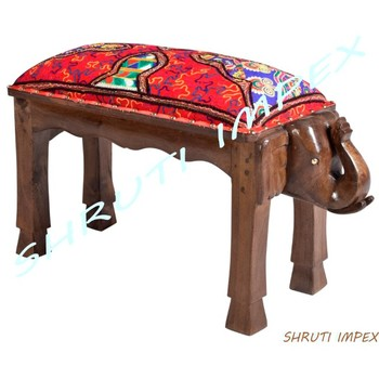 Upholstery Kachchi Taka Embroidery Fabric Handmade Elephant Wooden Stool Buy Stoolwooden Stoolbar Stool Wooden Product On Alibabacom