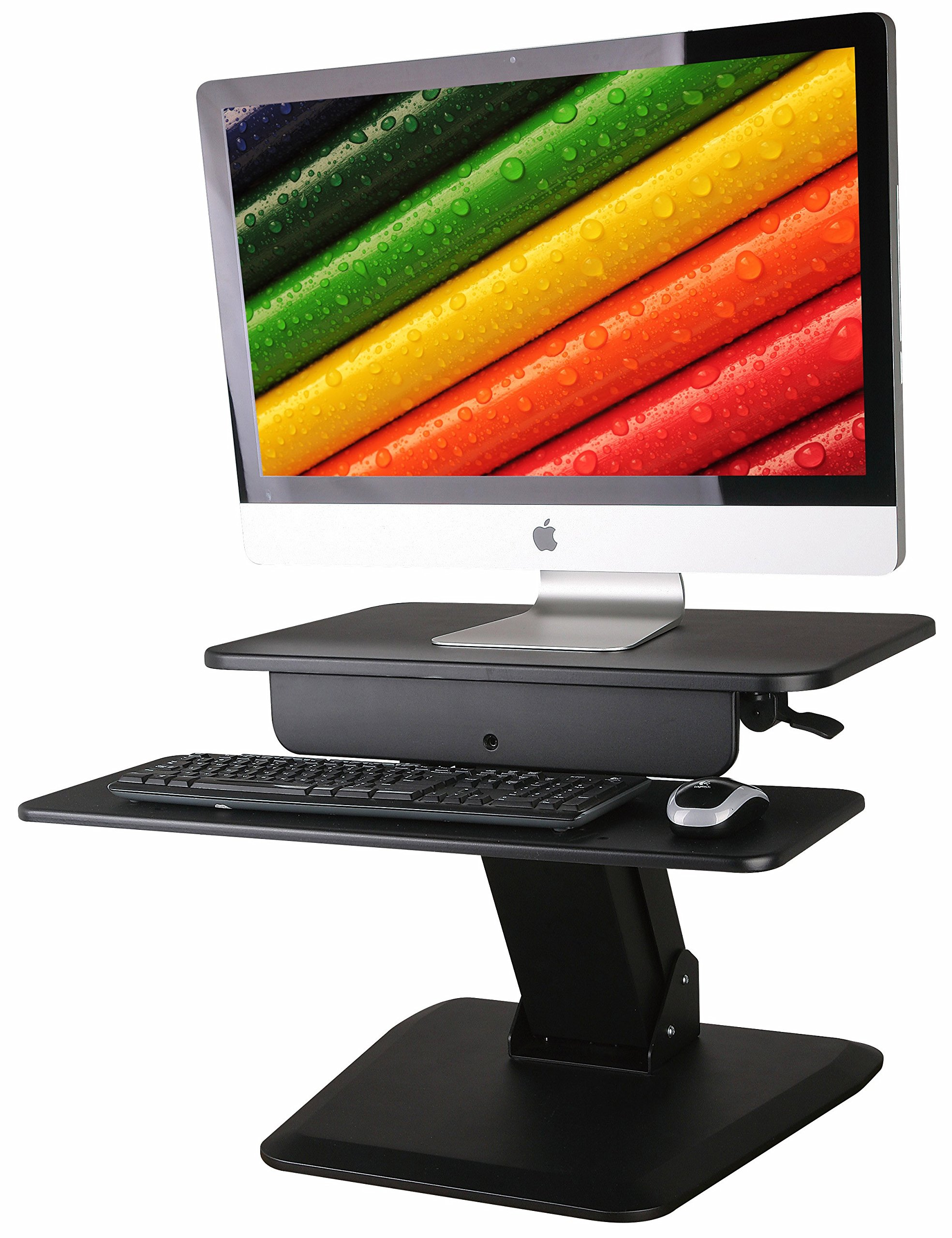 "Height Adjustable Standing Desk in Black is Perfect Stand Up Desk. Smooth Gas Spring Monitor Riser Goes from Sit to Stand in an Instant. 23.5"" Desktop, Dual Tier, Solid Anti Slip Bottom, Durable"