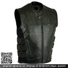 MEN MOTORCYCLE SWAT STYLE LEATHER VEST BLACK MADE BY SIALKOT