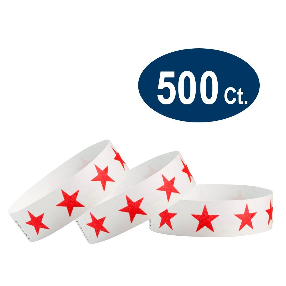 500 Pack Paper Wristbands for Events WristCo Over 21 Neon Yellow 3//4 Tyvek Wristbands