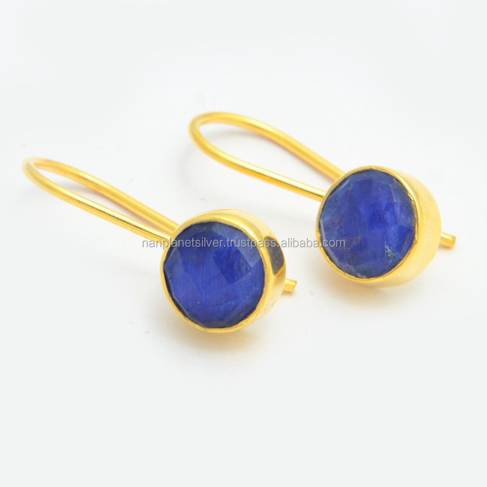 Gold Plated Dyed Blue Sapphire Round Bezel Set Dangle Earring