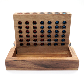 The Wooden Game Pieces in Box Connect a Row in 4 Classic Fun for Family and Kids with Parent
