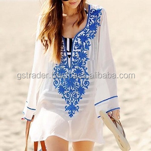 women Trending 2017 Embroidered Rayon Kaftan dress With Designer neck Beach Cover Ups long sleeves hi fashionable tunic