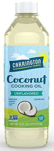 Carrington Farms gluten free, hexane free, NON-GMO, free of hydrogenated and trans fats in a BPA free bottle, liquid coconut cooking oil, unflavored, 16oz (ounces), Packaging May Vary