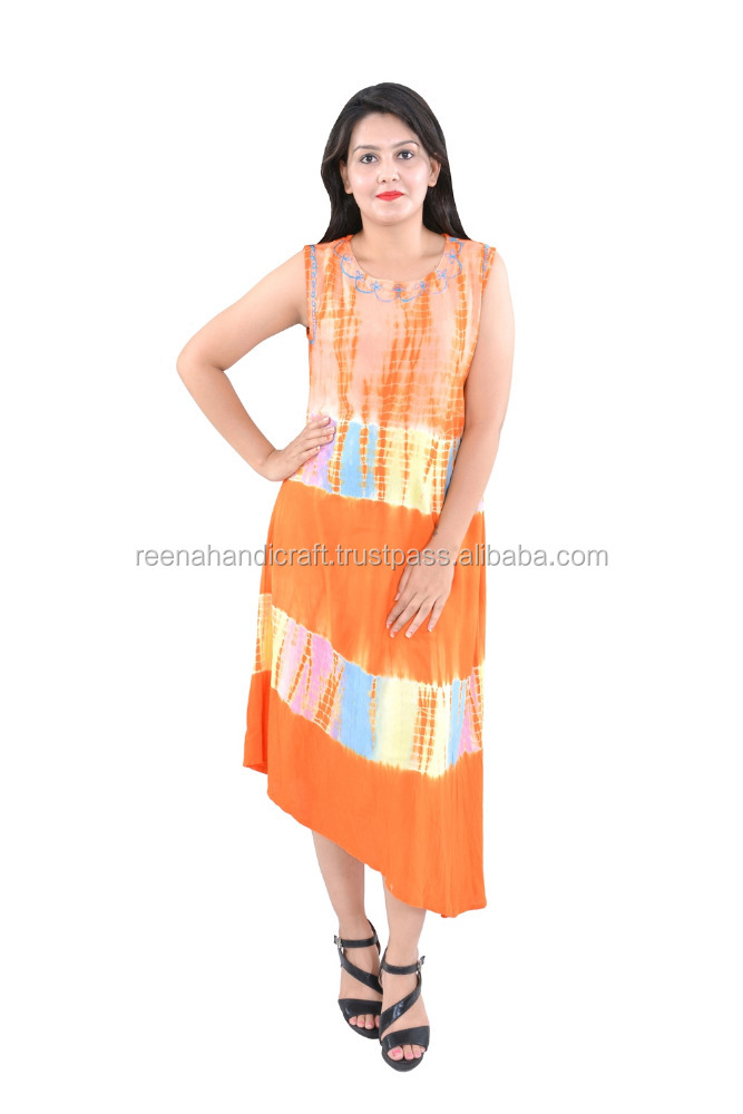 Indian Orange Tyedy Ombre Cotton Mandala Long Beach Frill Handmade Printed 100% Cotton Dress