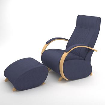 Luxury Armchair with footrest Natural Veneer G3&P3 (Denim Blue)