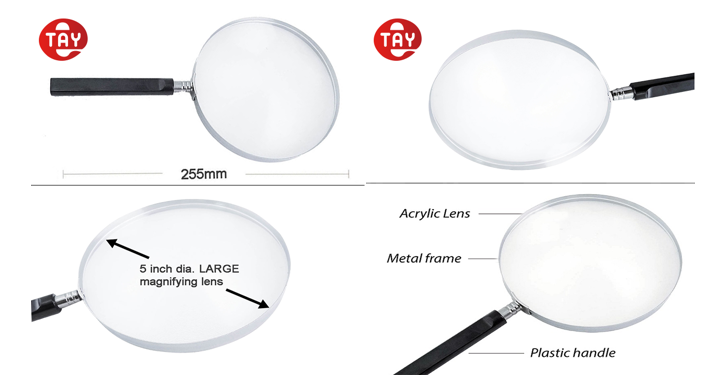 Metal Frame Magnifying Glass With Plastic Handle