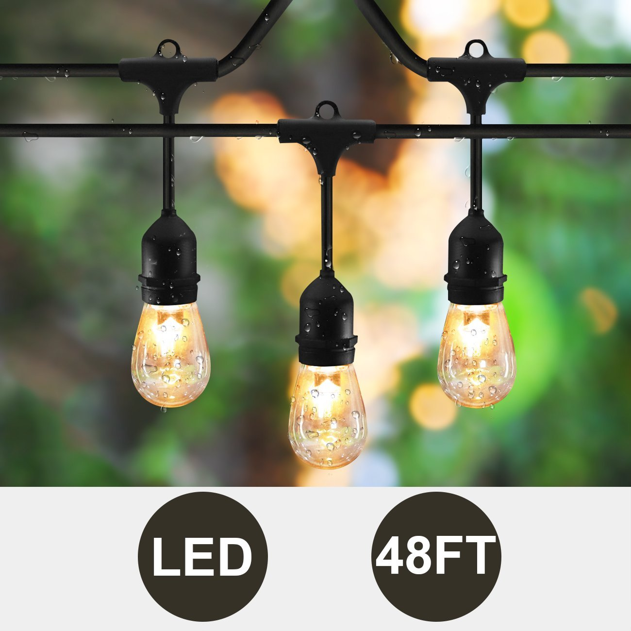 SUNTHIN 48ft LED String of Lights with 15 x E26 Sockets and Hanging Loops, 18 x 0.9 Watt S14 Bulbs (3 Spares) -Indoor/Outdoor string lights, Commercial String Lights, Patio Lights, Light Strings