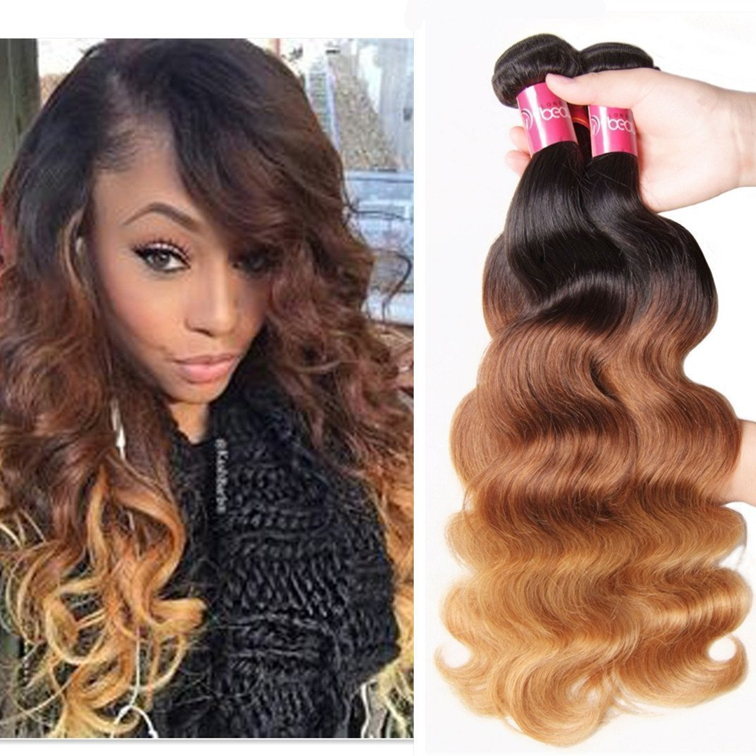 "Sunber 20""18""16"" Brazilian Hair Ombre Virgin Hair Body Wave Bundles Mixed Length 100% Human Hair Extensions #1b/4/27 Color (T1B/4/27,16 18 20)"