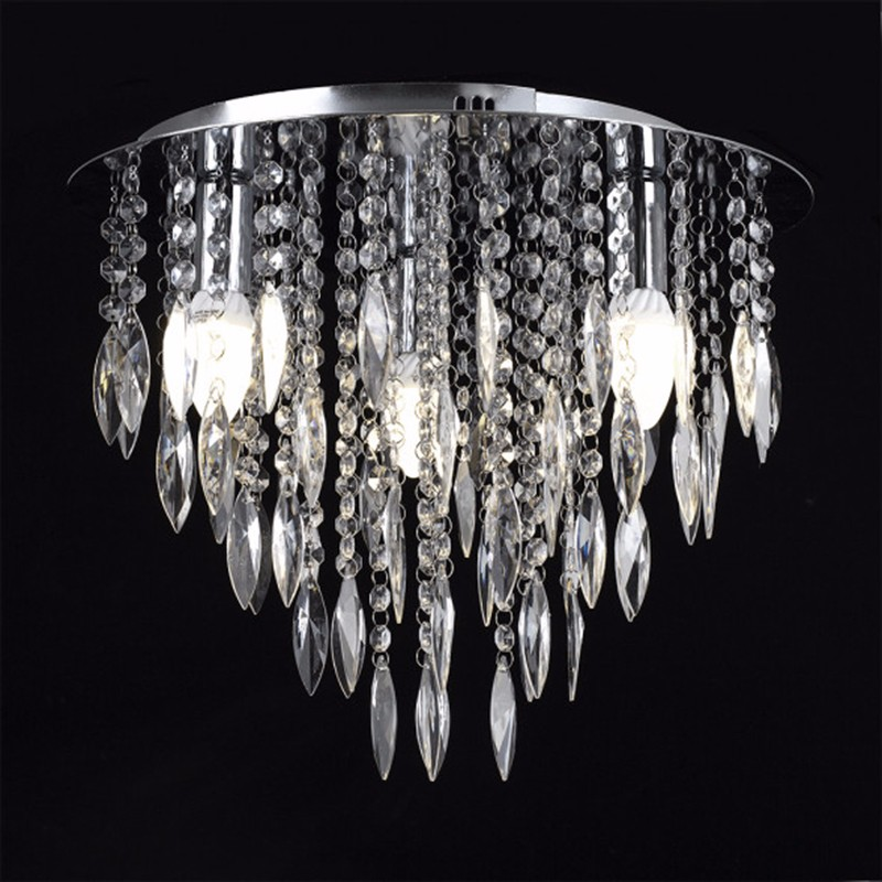 Acrylic Droplets Beaded Flush Crystal Ceiling Chandelier