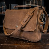 Vintage Style Genuine Leather Men Messenger Bag Crossbody Bag Shoulder Bag