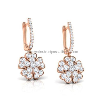 Fine Jewelry 14 Kt Real Solid Rose Gold IGI Certified 100% Natural Genuine Diamonds Clover Hearts Huggie Hoop Earrings