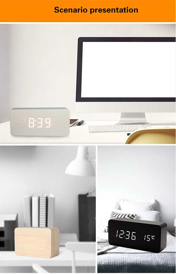 USB charge wooden desk clock digital with led lamp