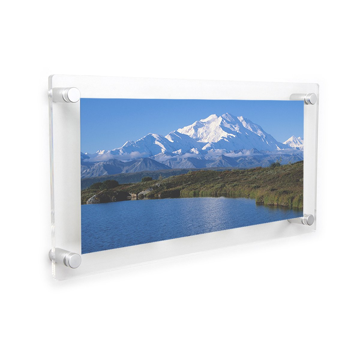 f0d58785106 Get Quotations · NIUBEE Clear Acrylic Wall Mount Floating Frameless Picture  Frame 8x16   for Degree Certificate Photo