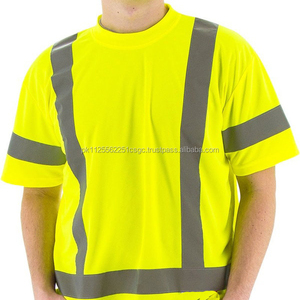 Safety work wear Reflective yellow cotton t shirts