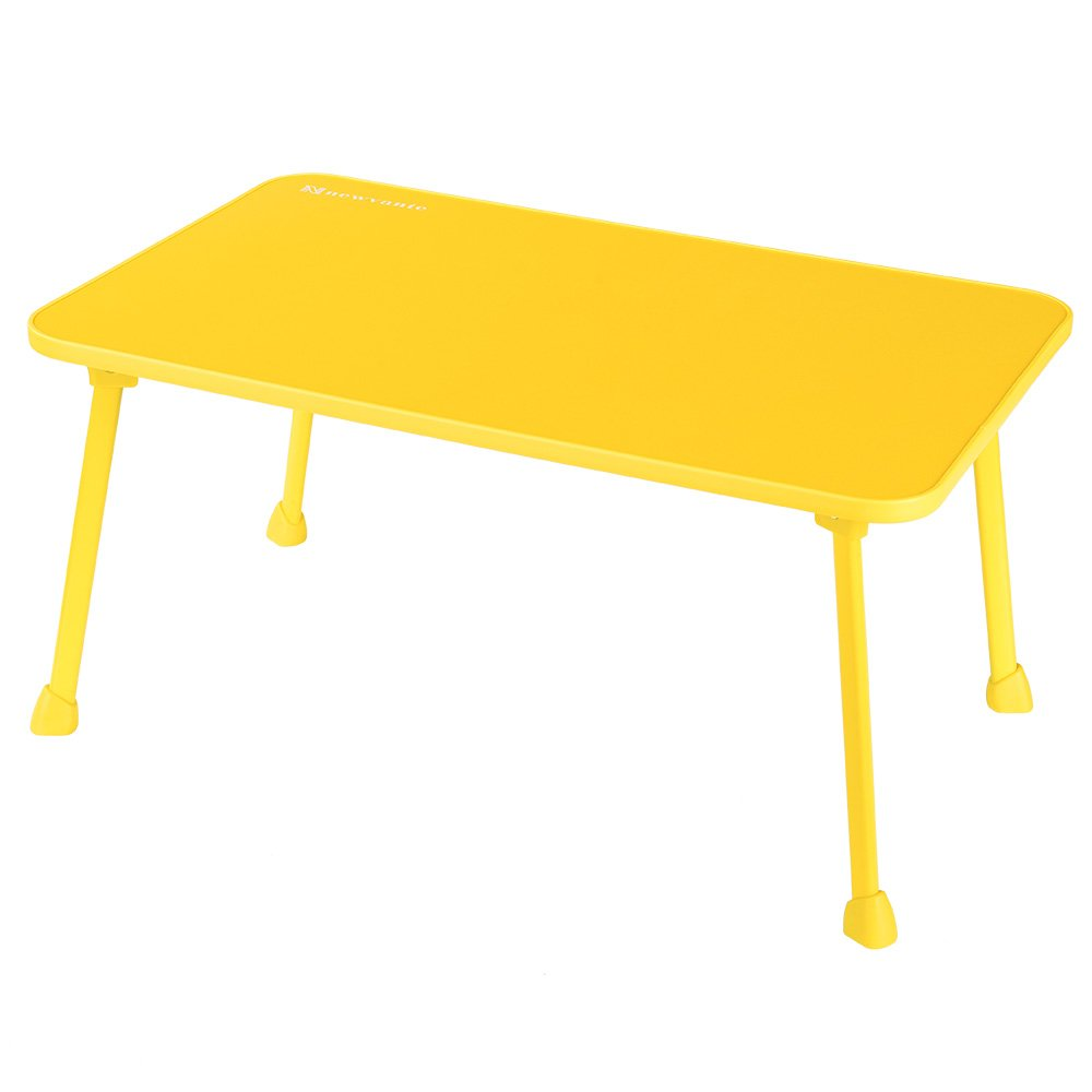 Laptop Bed Tray NNEWVANTE Laptop Desk for Bed Sofa Lap Desk Foldable Portable Standing Outdoor Camping Table, Breakfast Reading Tray Holder for Couch Floor Students Young Color(Yellow)