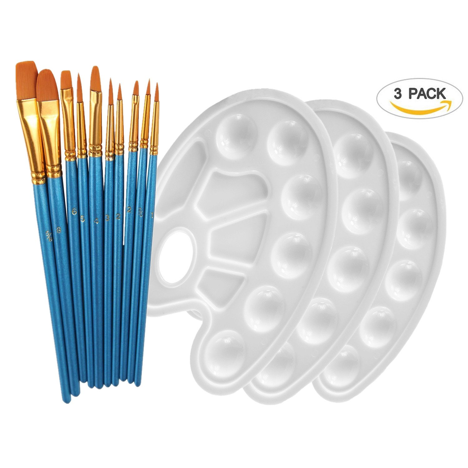 YOBAYE 10Pieces Round Pointed Tip Nylon Hair Brush Set With 3 Piece Paint Tray Palette