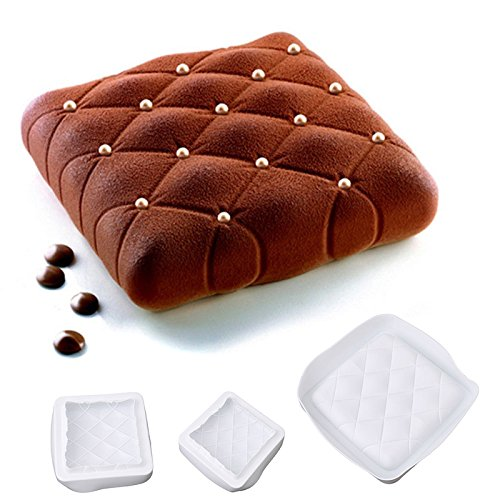 HUPLUE Silicone Square Mousse Mold 3D Cake Mold Bakeware Mousse Mould Cake Shape Tool