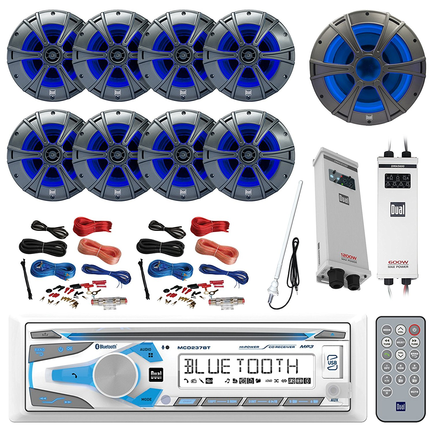 Cheap 600 Watt 2 Channel Amp Find Deals On Wiring Get Quotations Boat Package Dual Single Din Marine Cd Am Fm Bluetooth Receiver 8