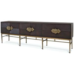 Italian gold stainless steel wooden extra long sideboard