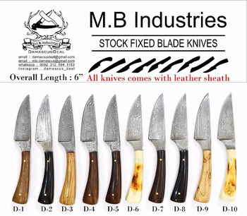 D Series Damascus Steel Knives in Variety of Handle Materials