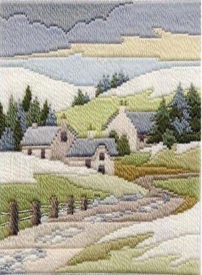 Derwentwater Designs Seasons In Longstitch Needlepoint Kit Cottages Winter MLS 12 By Rose Swalwell