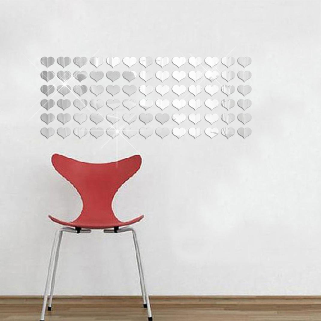 Rumas 50Pcs 3D Mirror Heart-shap Vinyl Removable Wall Sticker Decal Home Decor Art DIY (Silver)