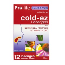 Pro-life Cold-ez Lemon & Honey | Zinc Immunity Lozenges, Support Clear Airways