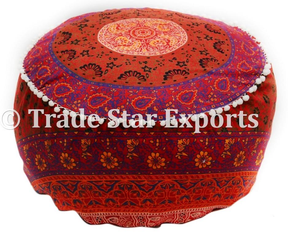 Indian Mandala Tapestry Pouffe Covers Sitting Puffs Storage Stool Pouf Ottoman