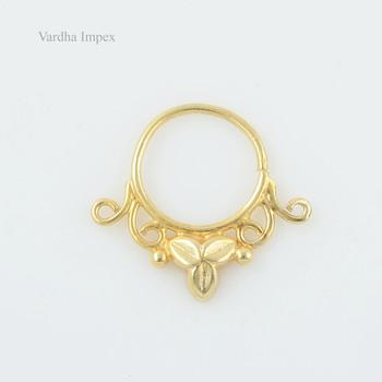 Elegant Vermeil Gold Plated Septum Piercing Nose Ring 925 Silver