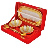 Diwali Super Sale Gift idea sale Gold & Silver Plated floral bowls and Spoon with Octagan Tray set