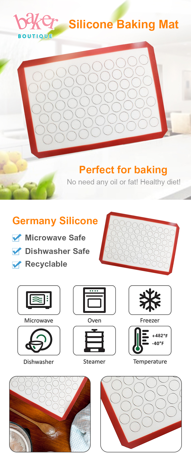 Non-Stick Reusable Washable Silicone Baking Sheet Silicone Pad for Oven
