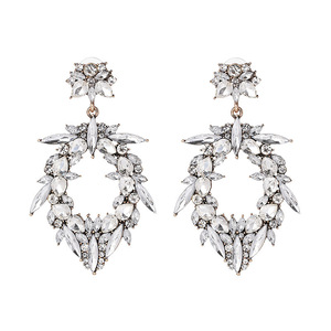 New Arrival Zinc Alloy Earrings Jewelry Gold Plated Rhinestone Crystal Earrings Unique Wedding Earrings For Women and ladies
