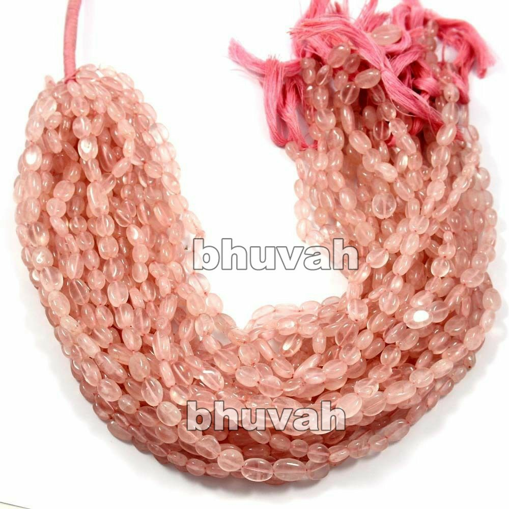 13 inch Corporate Wedding Return Gift Beads Strand Rose Quartz Oval Shape Gemstone 7pcs