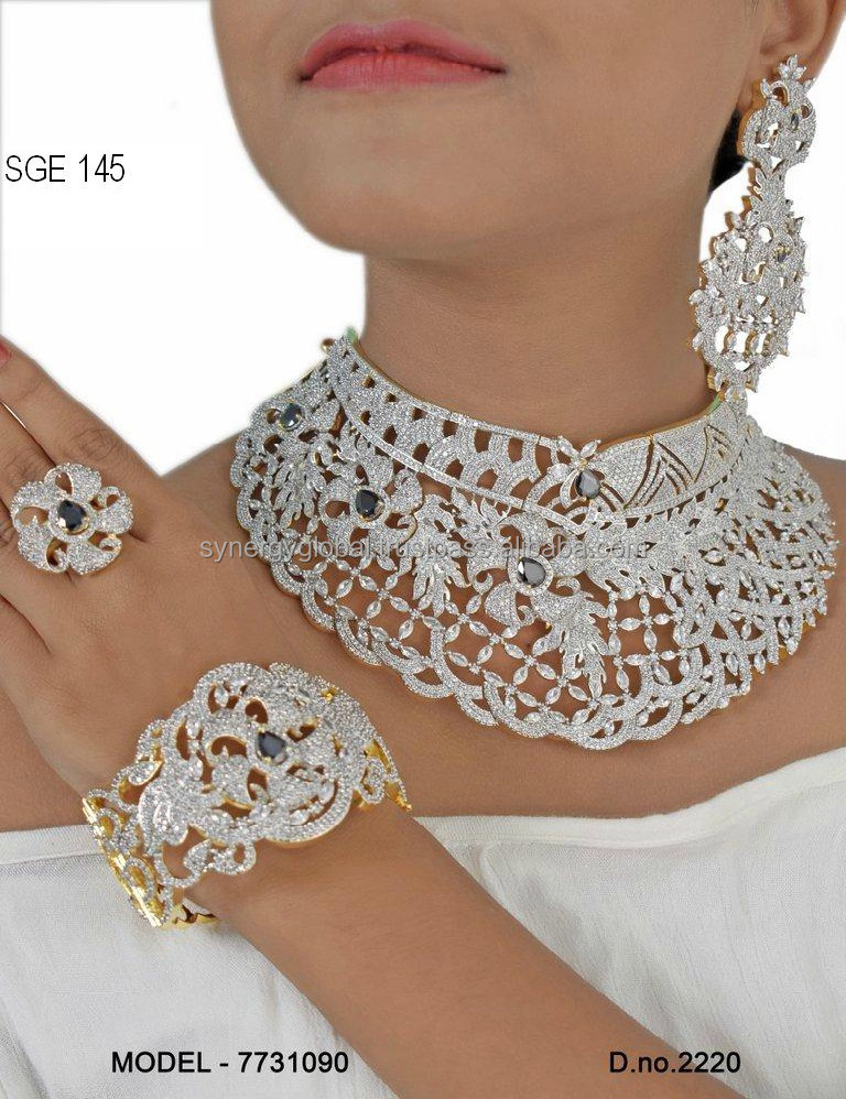Beautiful Heavy American Diamond Combo Necklace Set With Ring And Bracelet For African Market At Wholesale Price Buy Indian American Diamond Necklace Set Wholesale American Diamond Jewelry Bridal Diamond Necklace Settings Product On