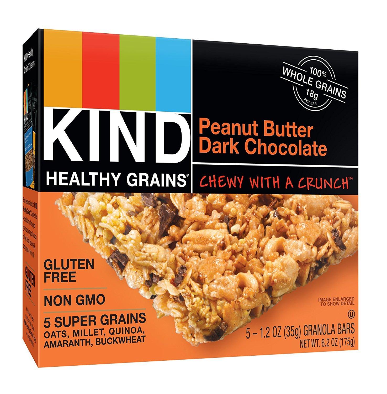 KIND Healthy Grains JJcVHu Granola Bars, Gluten Free, 1.2oz Bars, Peanut Butter Dark Chocolate, 15 Count (Pack of 2)