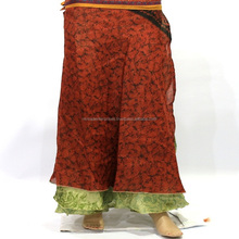 Indian Women Vintage Double Layer Silk Sari Women dress Skirt