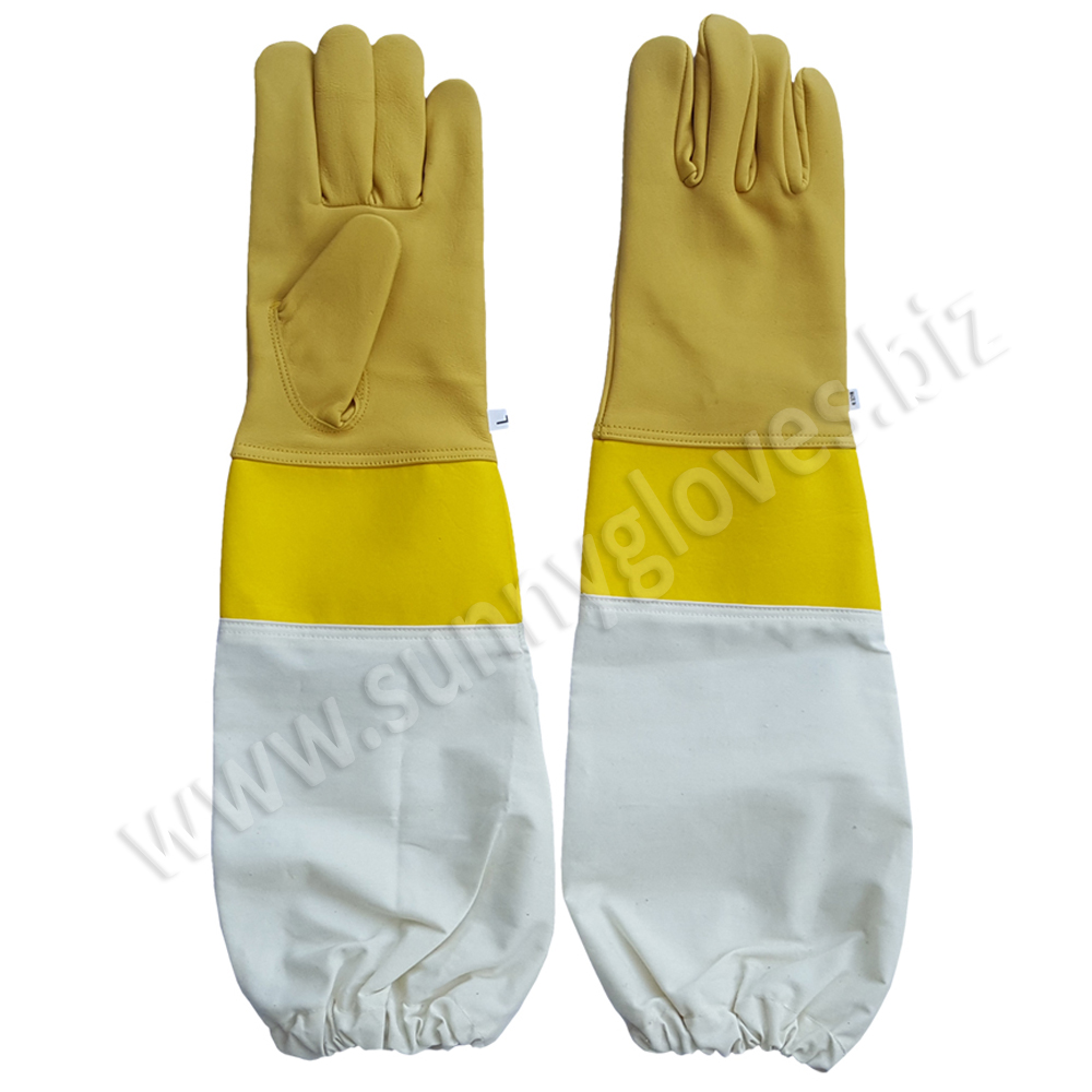 Cow Leather Bee Keeping Gloves with long safety cuff