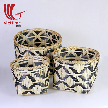 Set Of 3 Handwoven Natural Weaving Bamboo Storage Basket Wholesale Made In Vietnam