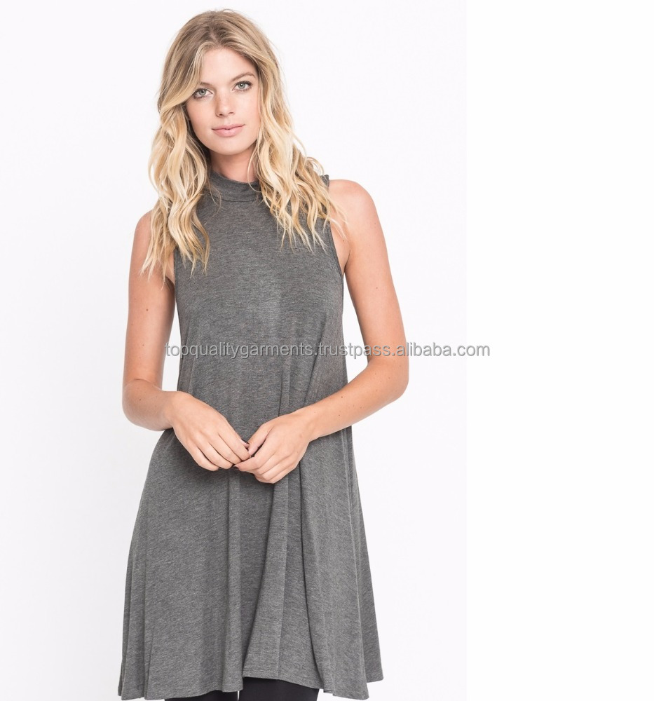 1b34317f6ea Tshirt Dress Top Sleeveless Cute High Neck Gray Ladies Women Girl Customize  Printed 100% Cotton Casual Summer OEM Wholesale 2018